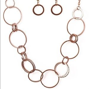 """Follow the Ringleader"" Copper Necklace & Earrings"